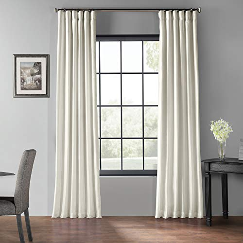 PDCH-KBS2BO-96 Blackout Vintage Textured Faux Dupioni Curtain, Off White, 50 X 96 - Ivory Lined Curtains