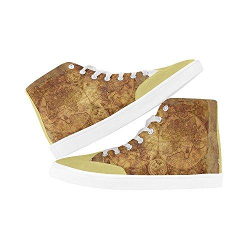 D-story Anpassade Världskarta Kängor För Män Tygskor Mode Sneaker