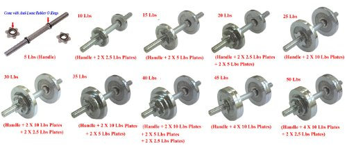 c4ca195d575 Amazon.com   Ringstar One Pair of Adjustable Dumbbells Chrome Plated Metal  Total 200 Lbs (2 X 100 Lbs) with Trays   Sports   Outdoors