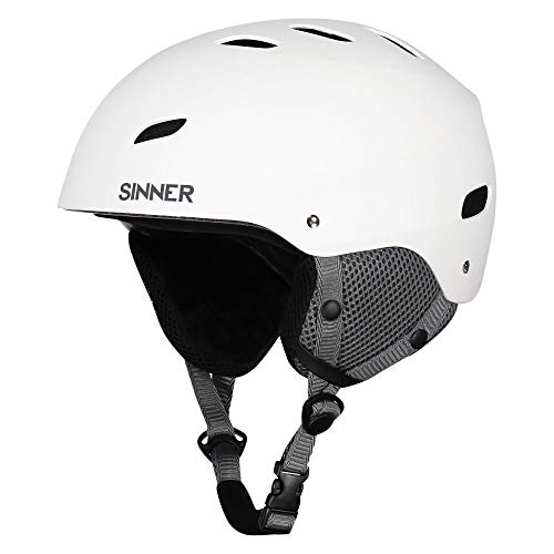 SINNER Bingham Unisex Outdoor Snow Sports Snowboard & Ski Helmet White for Men, Women & Youth - Light Weight, Style Performance & Safety. Comfortable with Adjustable fit. Size (L) (Sinner Goggles)