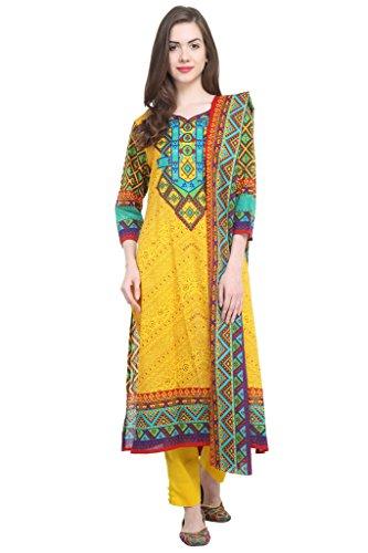 Uptowngaleria Women's Pakistani Cotton Lawn Salwar Suit Set M Yellow