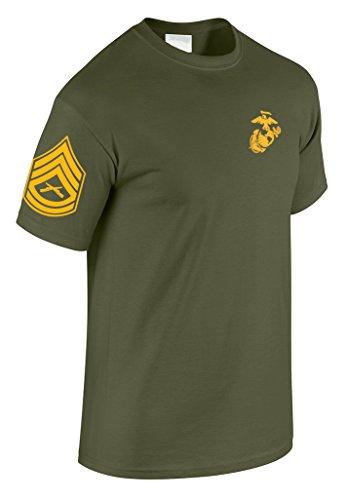 US Marine Corps Gunnery Sergeant T-Shirt w/ Chevron on Sleeve (Medium, Military Green) - Marine Corps Gunnery