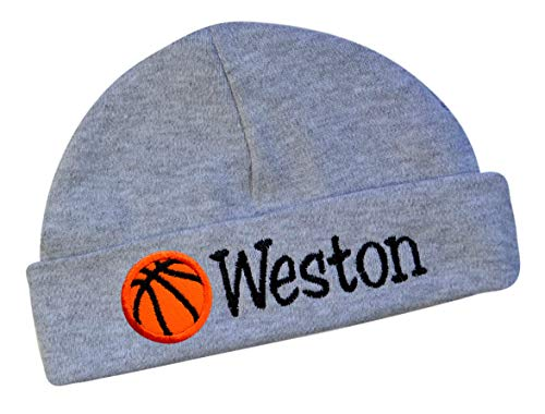 Embroidered Baby Boy Hat Personalized Keepsake Custom Infant Hat with Basketball (Gray HAT)