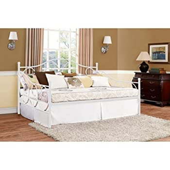 Amazon.com: Contemporary White Full Size Metal Daybed, Bedroom ...
