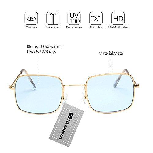 Mode Cadre soleil Lunettes Lentille Femmes Bleu Rectangulaire Unisex Or UV400 Classique XFentech de Lunettes 6wxFpgFd