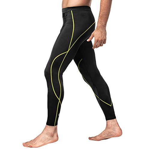 Drawstring Tights (Lapasa Men's Compression Pants Baselayer Cool Dry Sports Tights Leggings (X-Large, Black/Green Line))