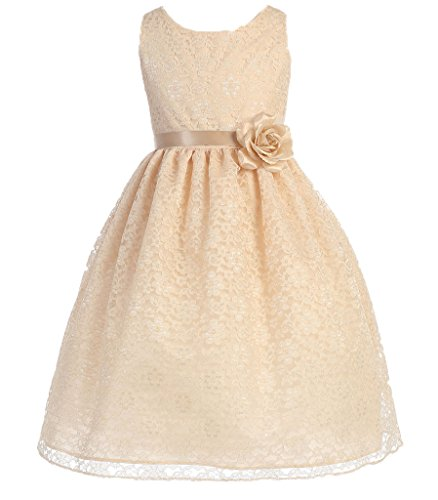 AkiDress Lovely Floral Lace Flower Girl Dress for Little Girl Champagne 4 (Size Flower Plus Girl Dresses)