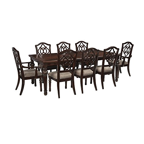 9 Piece Dining Set With Table 6 Side Chairs And 2 Arm Chairs In Brown Wood plus FREE GIFT