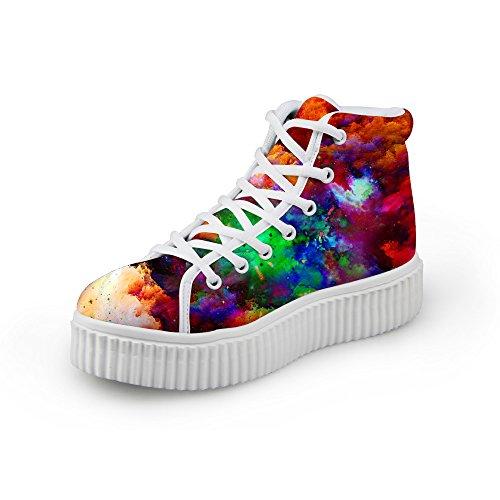Abbracci Idea Moda Colorato Galaxy Donne Scarpe Sneakers Piattaforma Colore Misto 5