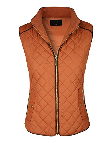 makeitmint Women's Basic Solid Quilted Padding Jacket Vest w/ Pockets Medium YJV0002_RUST by makeitmint