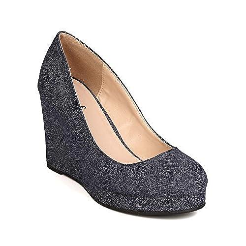 2d06b52cb553 high-quality Qupid FH95 Women Denim Round Toe Platform Wedge Heel - Blue  Denim
