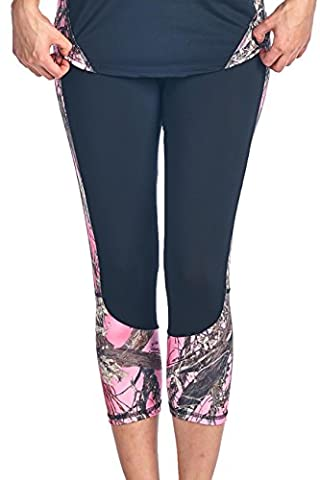 Women's Camo Capri Leggings Authentic True Timber Pants: PINK (XL)