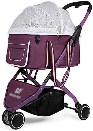 取り外し可能な犬のベビーカーのペット犬猫屋外トロリーコーギー軽量セパレート360°フロントホイールユニバーサルホイール (Color : Purple)