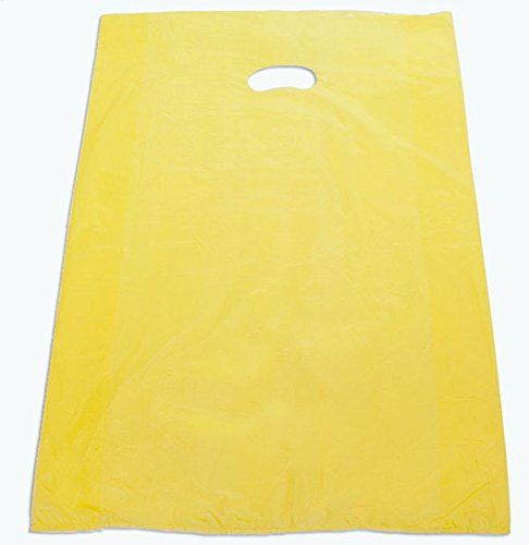 Large Plastic Merchandise Bags High Density Grocery With Handles 20x4x30 Retail Shop Yellow Pack of 500 NEW by Bentley's Display