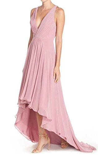 V High Dresses V Coral Prom Low Chiffon Dreagel Formal Gowns Backless Neck Deep HIPn75x8