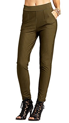 Bootcut Pants Stripe - Conceited Women's Dress Pants - Slim and Bootcut - 7 Colors - by (Small, Slim Pin Stripe Olive)
