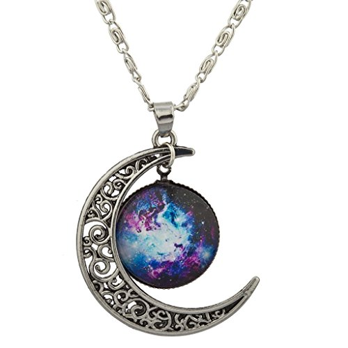 Lux Accessories Xmas Christmas Holiday Burnish Silver Cabochon Celestial Crescent Moon Charm Necklace