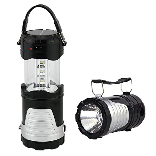Operkey LED Camping Lantern Portable Outdoor Flashlight with Solar Panel, Camping Gear Handheld Flashlights 2-In-1 Camping Lights for Hiking, Camping , Emergencies, Hurricanes, Outages(1 - List Camping Supplies
