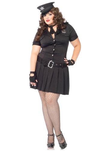 Leg Avenue Women's Plus Size 4 Piece Arresting Officer Dress Police Costume, Black, 1X-2X (Officer Fancy Dress)