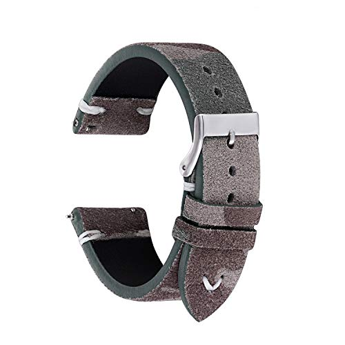 Straps Guy 22mm Suede Leather Quick Release Watch Band Strap, Lorica Inner Liner, Stainless Steel Buckle, USA Thread Minimalist Stitching, Camouflage Pattern in Moss Green Camo