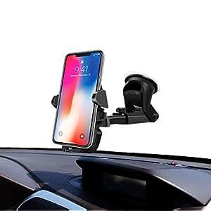 Soporte Coche Ventosa 360 Giro Grados Para Teléfonos Móviles,InnoMagi Soporte de Movíl para Coche Universal para Parabrisas y Salpicadero,Car Mount con Ventosa de Gel Fuerte y Brazo Ajustable Compatible con teléfono para iphone y android.