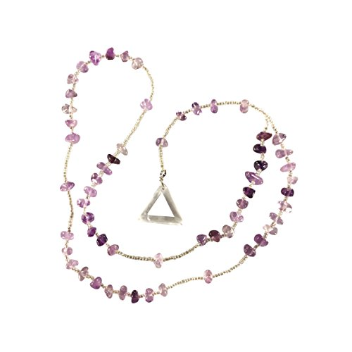 (Amethyst Rosary - Crystal Clear Miracles Healing Prayer Necklace - Triangle Pendant Powerful Unique Gift )