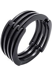 KONOV Stainless Steel Band Unisex Mens Womens Ring, Black
