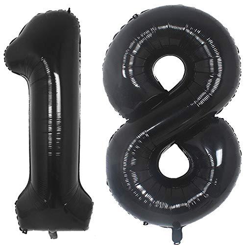 Tellpet Black 18 Number Balloon, 40 Inch ()