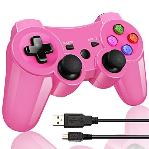 Double Vibrating Wireless Controller for PS3 With Charge Cable (Bright Pink ) (Controller Pink Ps3 Wireless)