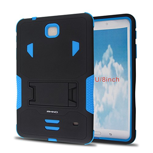 iRhino® For Samsung Galaxy Tab 4 8.0 / 8-inch (SM-T330) Heavy Duty Armor Rugged Hybrid Kickstand Protective Cover Case (Black on Blue)