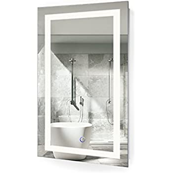 Led Bathroom Mirror 18 Inch X 30 Inch Lighted Vanity Mirror Includes Dimmer And Defogger Wall Mount Vertical Or Horizontal Installation