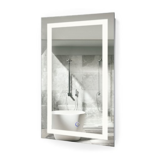LED Bathroom Mirror 18 Inch X 30 Inch | Lighted Vanity Mirror Includes Dimmer and Defogger | Wall Mount Vertical or Horizontal Installation | by Krugg