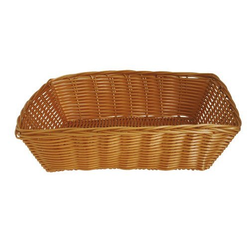 JVL Polyrattan Dishwasher Safe Oval Basket, Wood, 38 x 15 x 8 cm 15-372