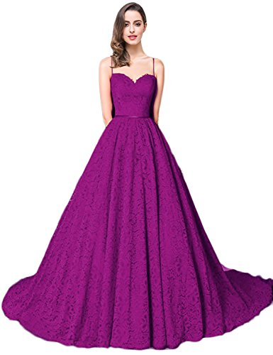YIRENWANSHA Fashion Wedding Dress 2018 Spaghetti Strap Lace Appliqued Sweetheart Prom Party Dresses For Women Long Sleeveless Empire Waist Evening Gown With Sweep Train Y048 Grape Size 2