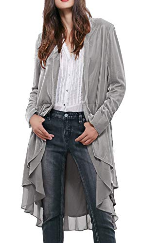 R.Vivimos Womens Ruffled Asymmetric Long Velvet Blazers Coat Casual Jackets (Large, Silver)