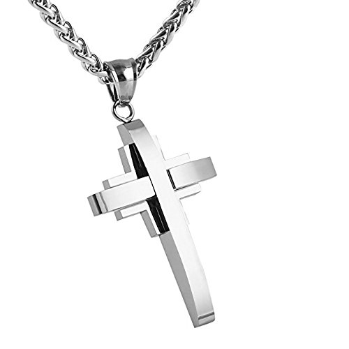 HZMAN Mens Silver Stainless Steel Cross Pendant Necklace True Religious, Rolo Cable Wheat Chain (Quality Stainless Steel Pendant)