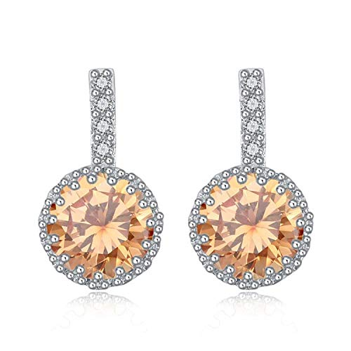 Fashion Round Stud Earrings Jewelry Made with Austrian Crystal Bijoux Femme - Champagne Bijoux