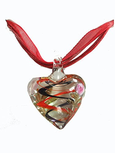 (Elegant Red Glass Heart and Flower Charm Pendant Necklace with Giftbox)