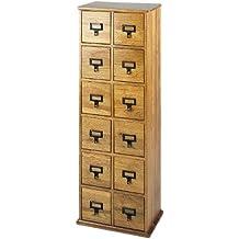 Leslie Dame CD-228 Solid Oak Library Card File Media Cabinet, 12 Drawers, Oak