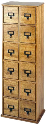 Leslie Dame CD-228 Solid Oak Library Card File Media Cabinet, 12 Drawers, Oak