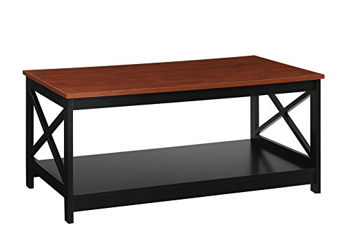 Cherry Real Wood - Convenience Concepts Oxford Coffee Table, Cherry/black