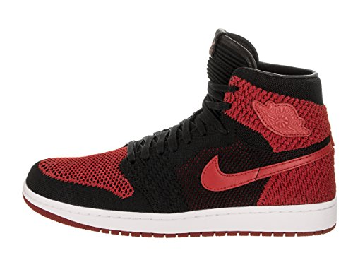 Jordan Men's Air 1 Retro HI Flyknit, BLACK/VARSITY RED-WHITE Rosso e Nero