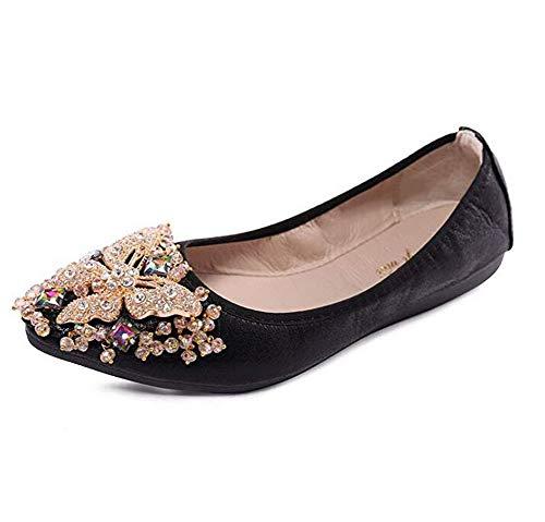 Otamise Women's Wedding Flats Rhinestone Slip On Foldable Ballet Shoes 10.5 Black