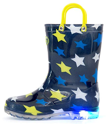 Outee Kids Rain Boots Toddler Boys Light Up Printed Waterproof Shoes Lightweight Cute Blue Stars with Easy-On Handles and Insole (Size 2,Blue)