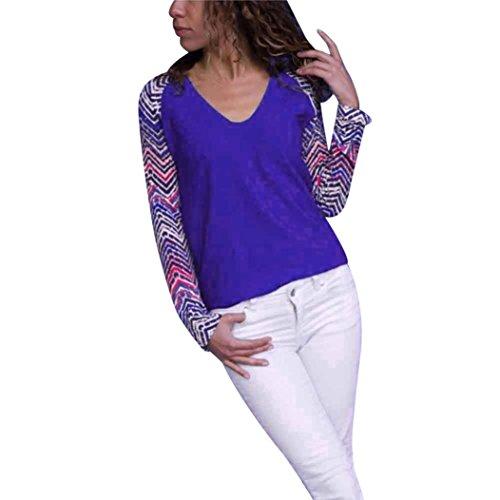TiaQ Geometrique Bloc A Longues Manches Tops Cou Bleu V Chemisier Decontracte Mode Couleur Imprime Blouse rSXq1rBA