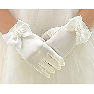 T.H.L.S Tandi Girls Gorgeous Satin Fancy Gloves for Special Occasion Dress Formal Wedding Pageant Party Short