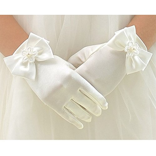 Large Beige Satin - Tandi Girls Gorgeous Satin Fancy Gloves for Special Occasion Dress Formal Wedding Pageant Party Short (Large, Beige)