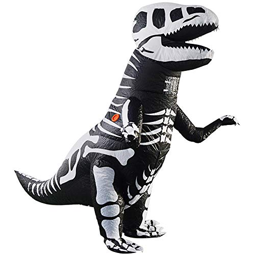 Kooy Adult Black Skeleton T-Rex Dinosaur Inflatable Costume Cosplay Halloween (Skeleton_Adult)