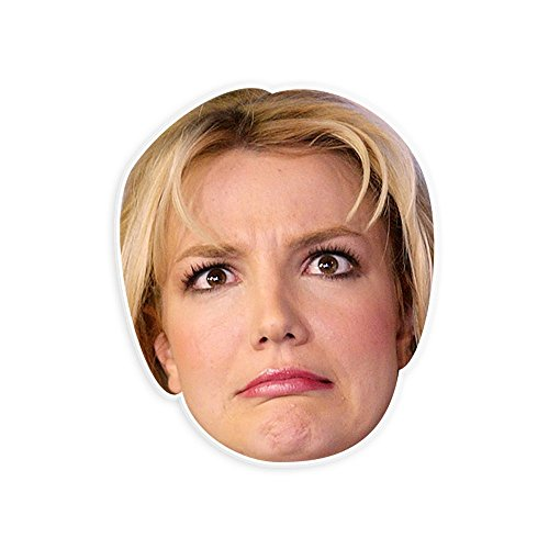 "Silly Britney Spears Mask by RapMasks - 12"" x 9"" Waterproof Laminated"