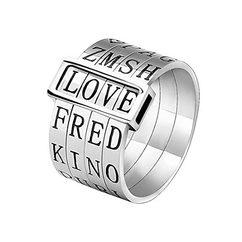 YWJ Unique Jewelry Titanium Wide Band Engraved Spinner Ring Love Gift for Women Men Kids by YWJ